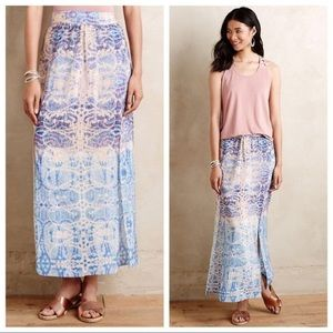 Anthropologie Maeve Silk Blue Printed Maxi Skirt